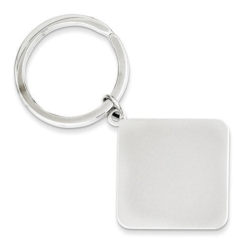 Engravable Sterling Silver Square Key Holder Ring Keychain Personalized Engraved Monogram