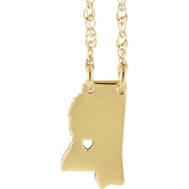 14k Gold 10k Gold Silver Mississippi MS State Map Necklace Heart Personalized City