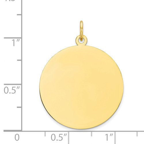 10k Yellow Gold 22mm Round Circle Disc Pendant Charm Personalized Monogram Engraved