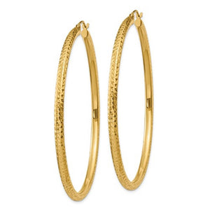 14K Yellow Gold 2.36 inch Large Diamond Cut Round Classic Hoop Earrings 60mm x 3mm