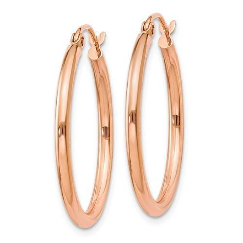 14K Rose Gold Classic Round Hoop Earrings 25mm x 2mm