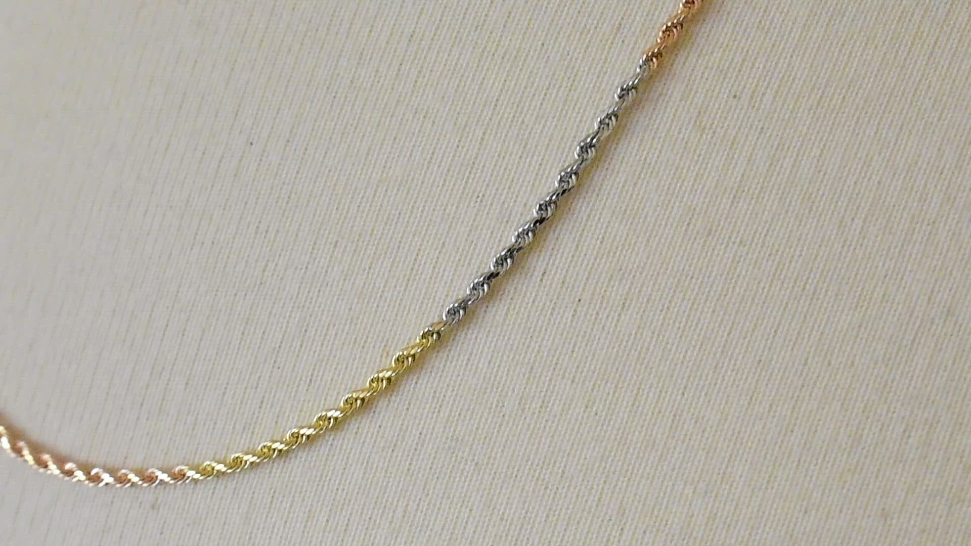 14K Yellow White Rose Gold Tri Color 1.75mm Diamond Cut Rope Bracelet Anklet Choker Necklace Chain