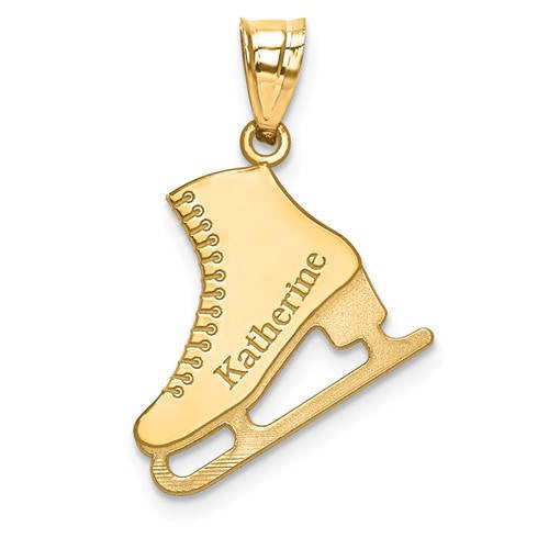 14k Gold Sterling Silver Ice Skating Skates Disc Pendant Charm Custom Made Engraved Personalized