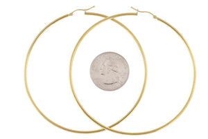 14K Yellow Gold Classic Round Extra Large Hoop Earrings 73mm x 2mm