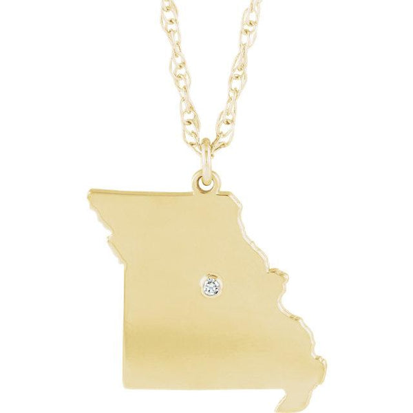 14k 10k Yellow Rose White Gold Diamond Silver Missouri MO State Map Personalized City Necklace