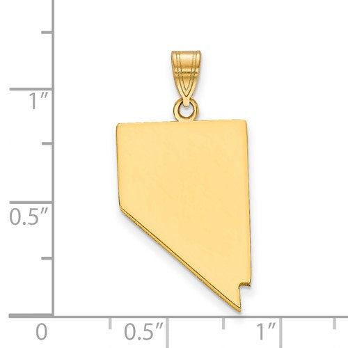 14K Gold or Sterling Silver Nevada NV State Map Pendant Charm Personalized Monogram
