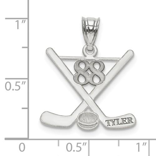 14k Gold or Sterling Silver Ice Hockey Personalized Engraved Pendant