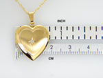 Load image into Gallery viewer, 14K Solid Yellow Gold 19mm Heart .02 CTW Diamond Locket Pendant Charm Engraved Personalized Monogram