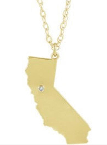 14k 10k Yellow Rose White Gold Diamond Silver California  CA State Map Personalized City Necklace