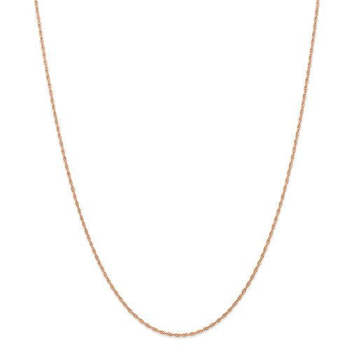 14k Rose Gold 1.15mm Cable Rope Necklace Pendant Chain with Spring Ring Clasp 16 18 20 24 inches