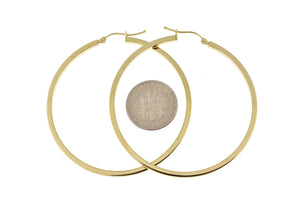 14k Yellow Gold Square Tube Round Hoop Earrings 50mm x 2mm