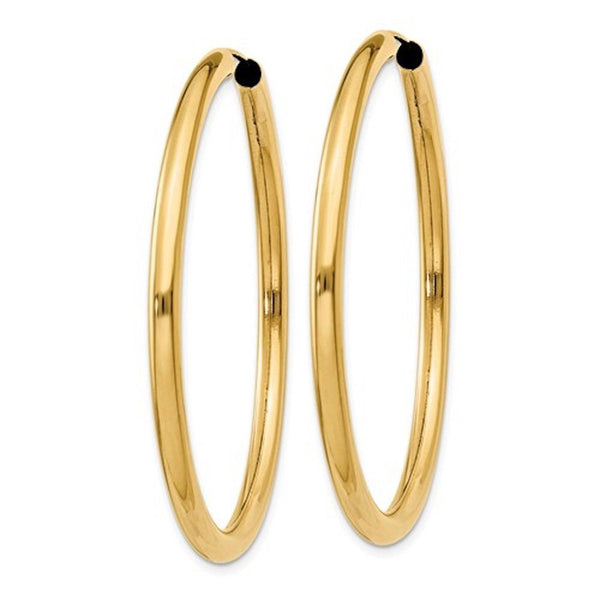 14k Yellow Gold Round Endless Hoop Earrings 45mm x 2.75mm