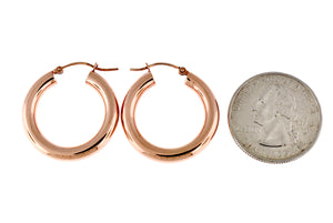 14K Rose Gold Classic Round Hoop Earrings 25mm x 4mm