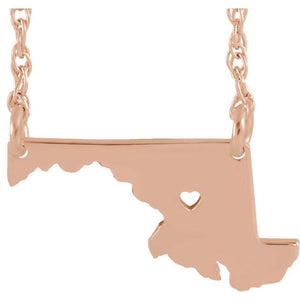 14k Gold 10k Gold Silver Maryland MD State Map Necklace Heart Personalized City