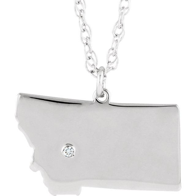 14k 10k Yellow Rose White Gold Diamond Silver Montana MT State Map Personalized City Necklace