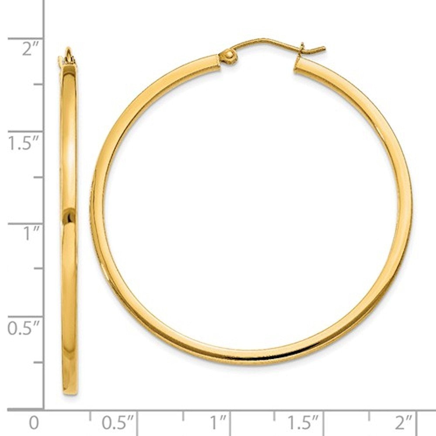 14k Yellow Gold Square Tube Round Hoop Earrings 45mm x 2mm