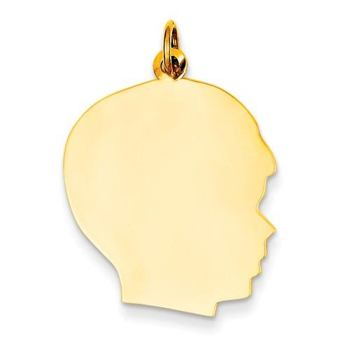 14k Yellow Gold 20mm Boy Head Facing Right Disc Pendant Charm Engraved Personalized