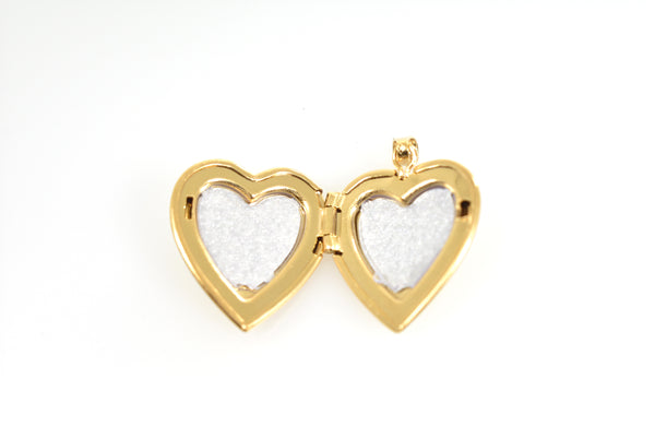 14k Yellow Gold 15mm Heart Locket Pendant Charm Engraved Personalized Monogram