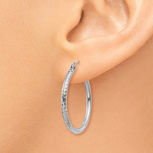 14k White Gold Diamond Cut Round Hoop Earrings 24mm x 2mm