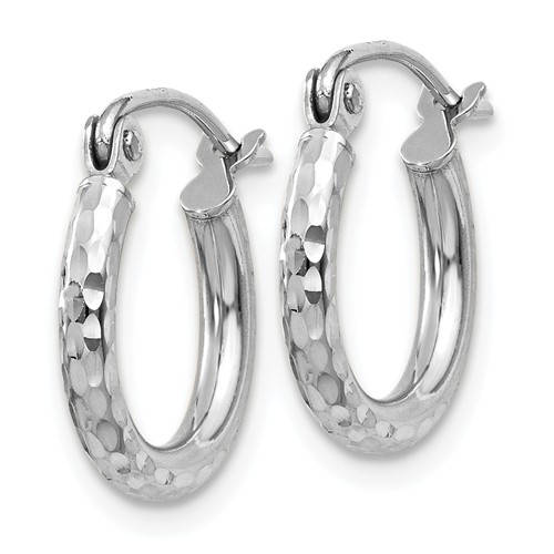 14k White Gold Diamond Cut Round Hoop Earrings 12mm x 2mm