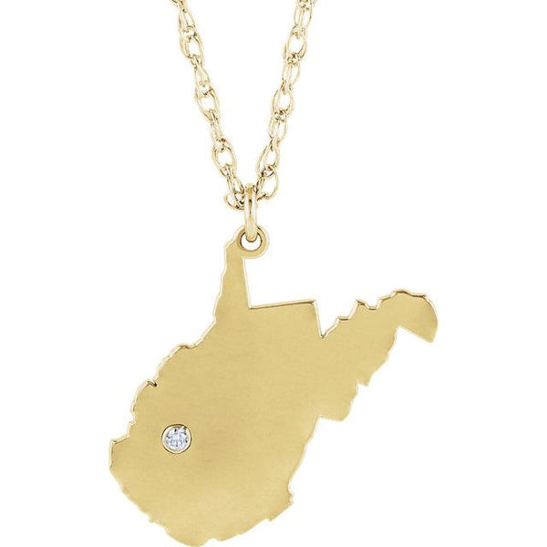 14k 10k Yellow Rose White Gold Diamond Silver West Virginia WV State Map Personalized City Necklace