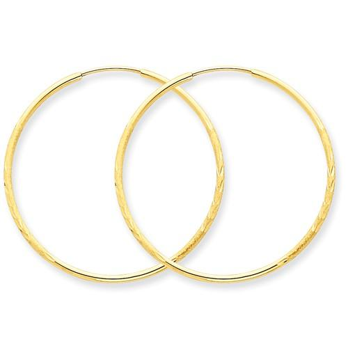 14k Yellow Gold Diamond Cut Satin Endless Round Hoop Earrings 30mm x 1.25mm