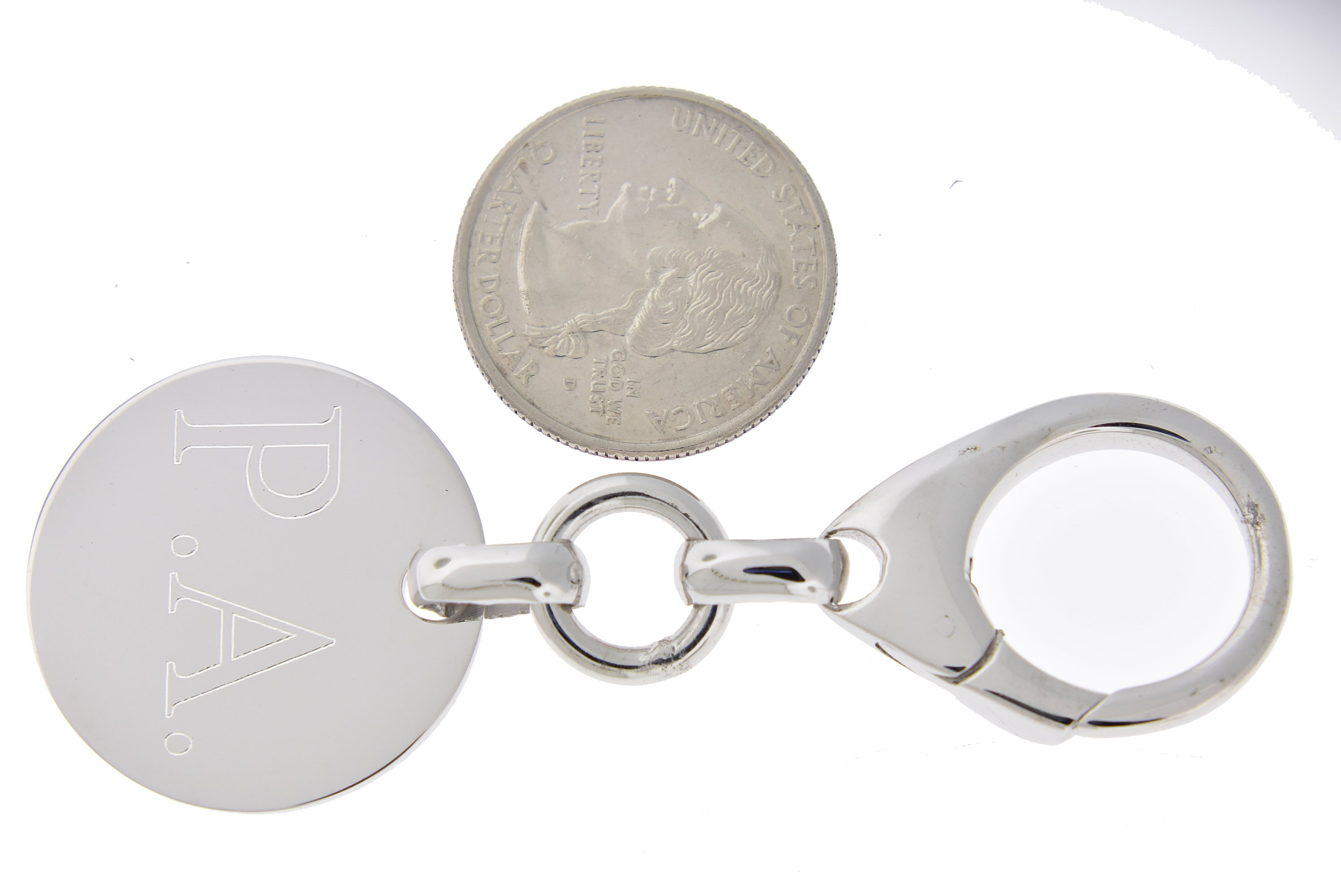 Engravable Sterling Silver Round Key Holder Ring Keychain Personalized Engraved Monogram