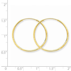 14k Yellow Gold Diamond Cut Satin Endless Round Hoop Earrings 27mm x 1.25mm