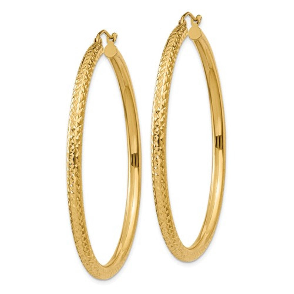 14K Yellow Gold Diamond Cut Large Classic Round Hoop Earrings 50mm x 3mm