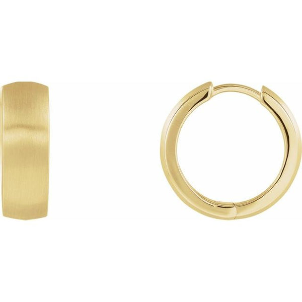 14k Yellow Gold Satin Brushed Huggie Hinged Hoop Earrings 17.5mm x 5.5mm