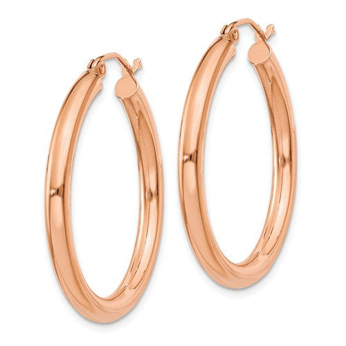 14K Rose Gold Classic Round Endless Hoop Earrings 29mm x 3mm