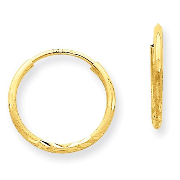 14k Yellow Gold Diamond Cut Satin Endless Round Hoop Earrings 13mm x 1.25mm