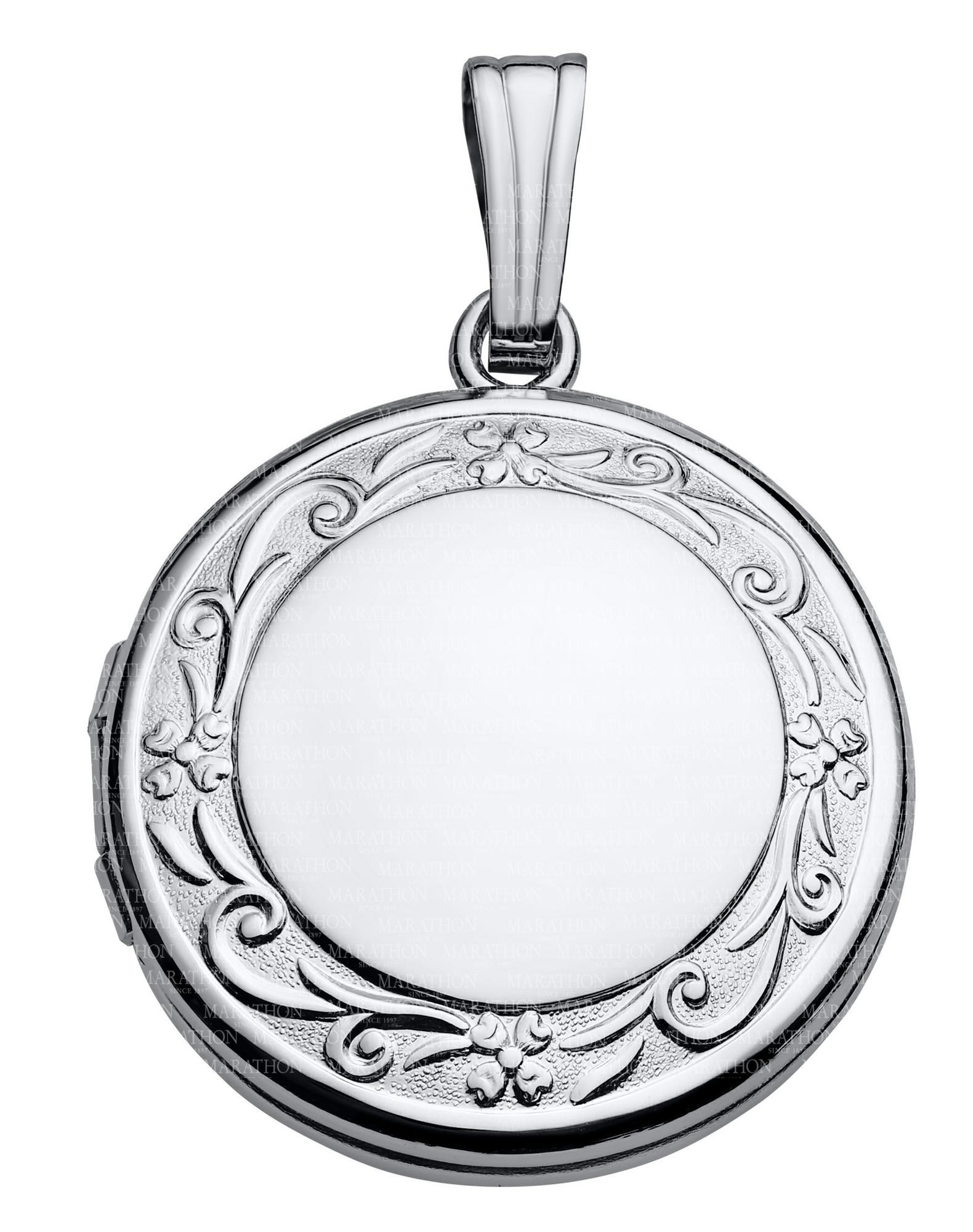 14K White Gold 19mm Round Floral Photo Locket Pendant Charm Engraved Personalized Monogram