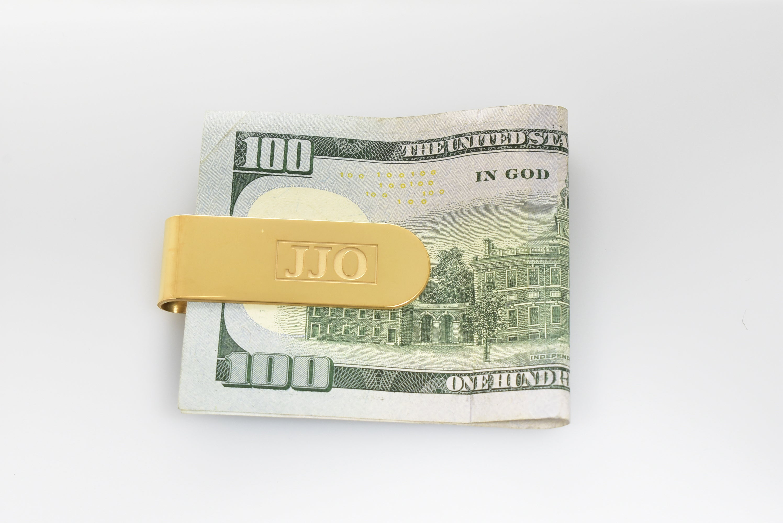 14K Yellow White Gold or Sterling Silver Money Clip Custom Order Personalized Monogram