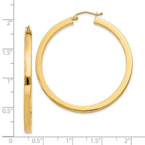 14K Yellow Gold Square Tube Round Hoop Earrings 40mm x 3mm