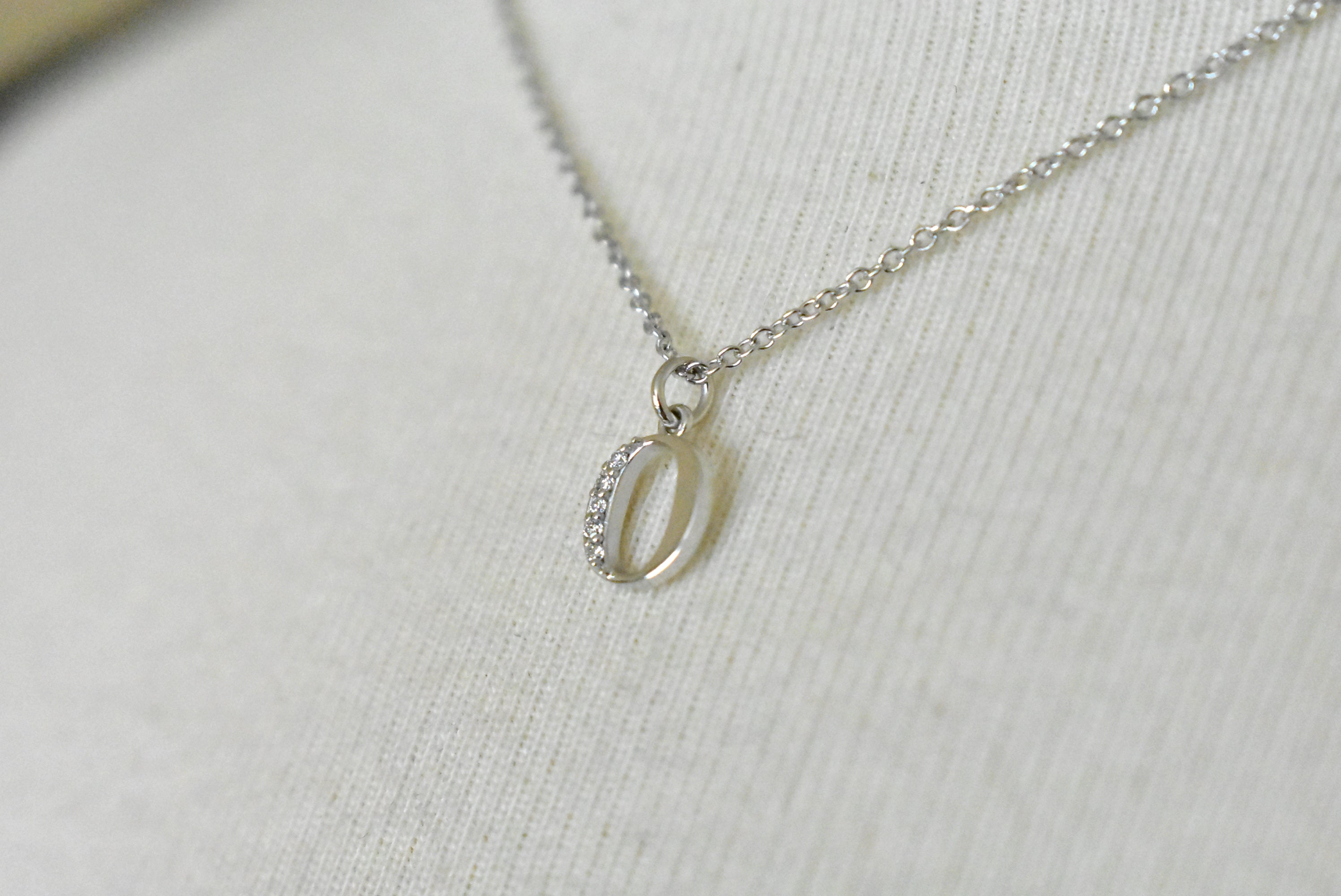 14K Yellow Rose White Gold .03 CTW Diamond Tiny Petite Lowercase Letter O Initial Alphabet Pendant Charm Necklace