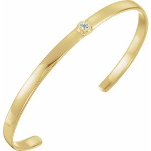 14K Yellow White Rose Gold or Sterling Silver 1/10 CT Diamond Cuff Bangle Bracelet