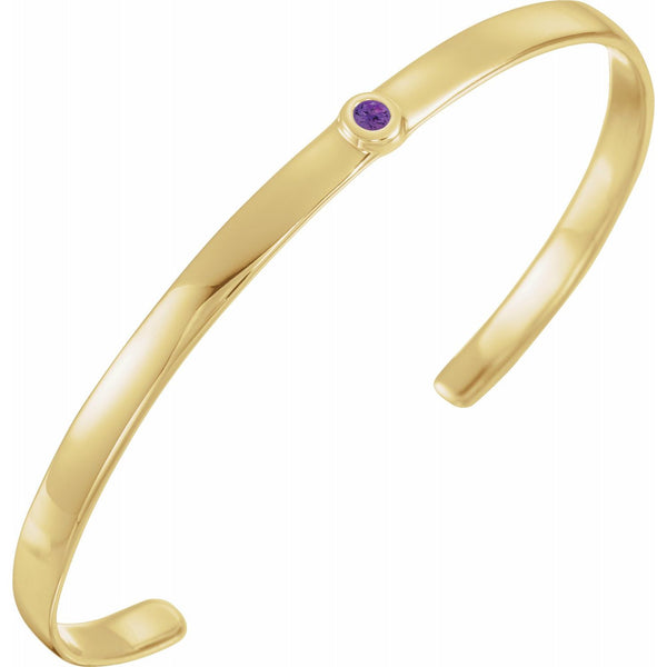 14K Yellow White Rose Gold or Sterling Silver Amethyst Cuff Bangle Bracelet