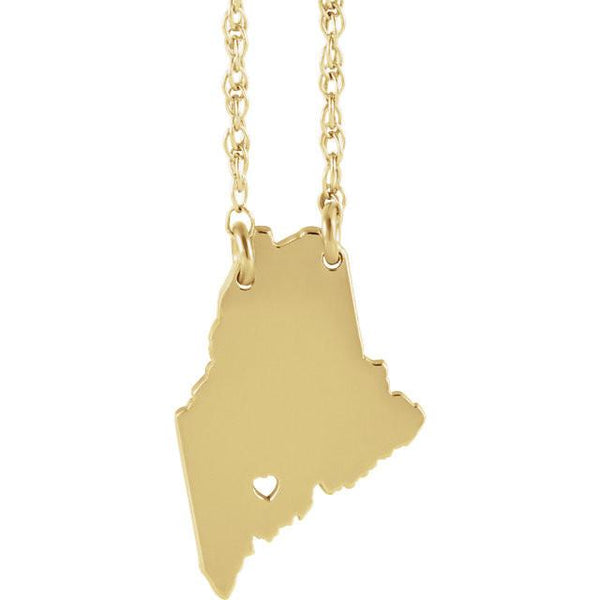 14k Gold 10k Gold Silver Maine State Map Necklace Heart Personalized City