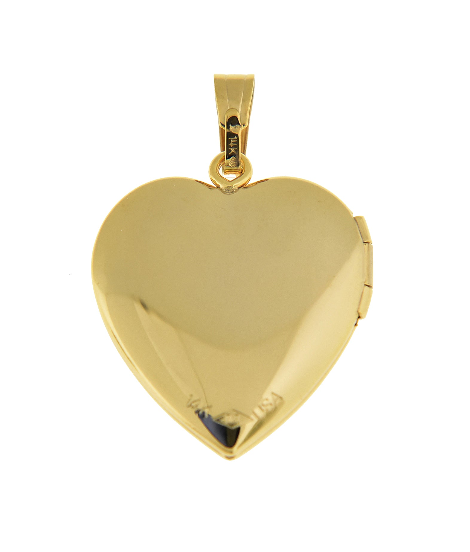 14K Solid Yellow Gold 19mm Heart .02 CTW Diamond Locket Pendant Charm Engraved Personalized Monogram