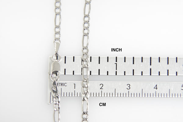 14K White Gold 2.5mm Lightweight Figaro Bracelet Anklet Choker Necklace Pendant Chain