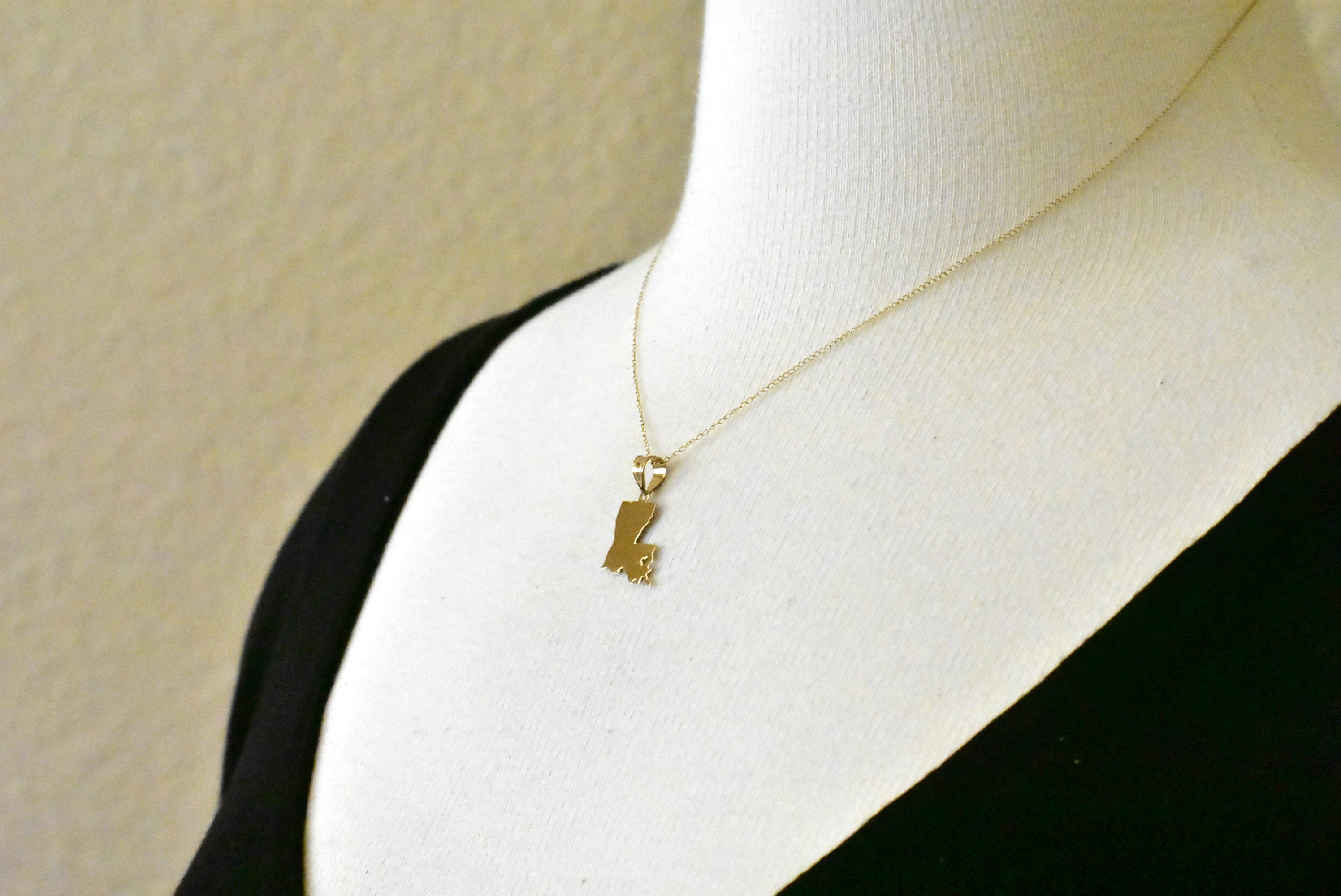 14K Gold or Sterling Silver Louisiana LA State Map Pendant Charm Personalized Monogram