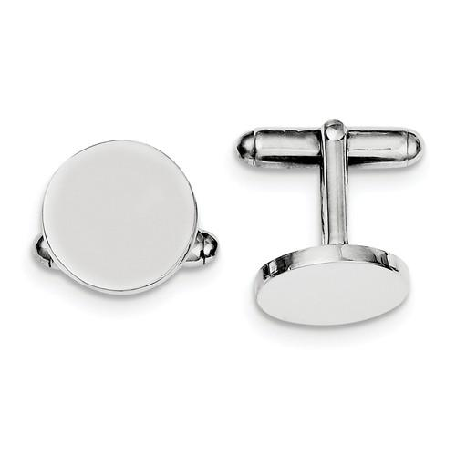 Sterling Silver Round Cufflinks Cuff Links Engraved Personalized Monogram