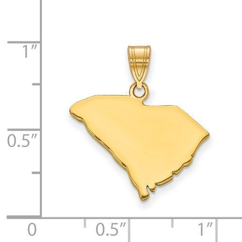 14K Gold or Sterling Silver South Carolina SC State Map Pendant Charm Personalized Monogram