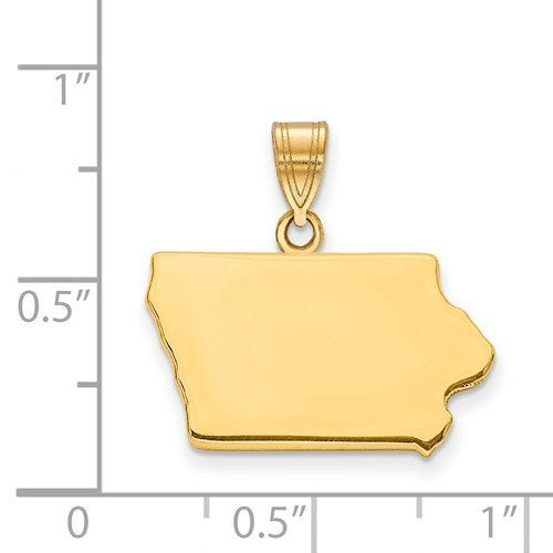 14K Gold or Sterling Silver Iowa IA State Map Pendant Charm Personalized Monogram