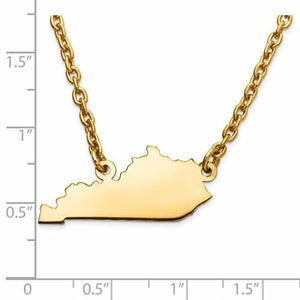 14K Gold or Sterling Silver Kentucky KY State Name Necklace Personalized Monogram