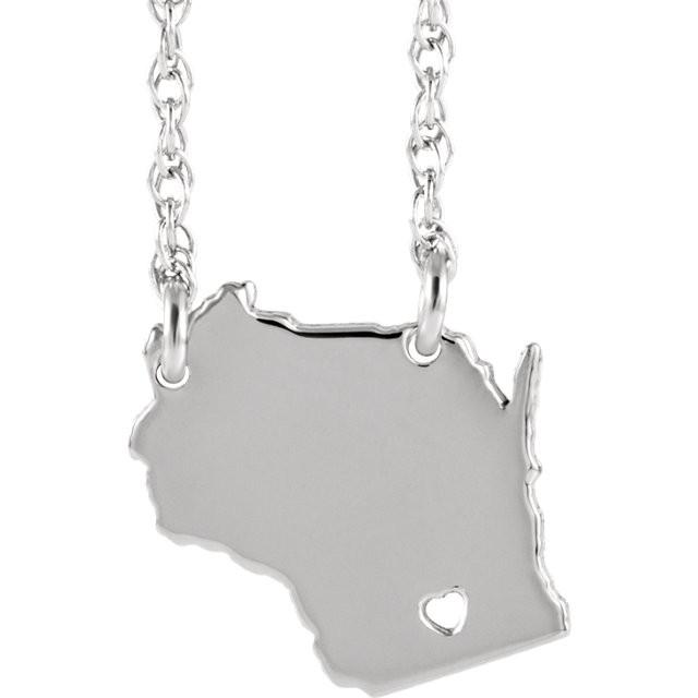 14k Gold 10k Gold Silver Wisconsin WI State Map Necklace Heart Personalized City