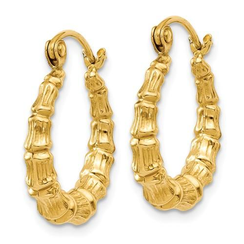 14K Yellow Gold Bamboo Hoop Earrings 16mm