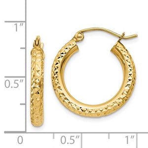 14K Yellow Gold Diamond Cut Classic Round Hoop Earrings 19mm x 3mm