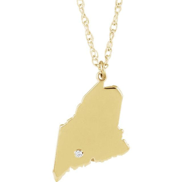 14k 10k Yellow Rose White Gold Diamond Silver Maine ME State Map Personalized City Necklace